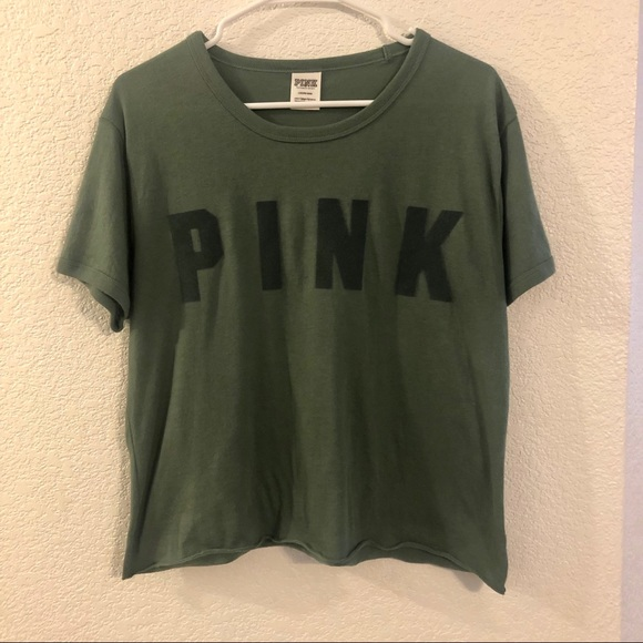 274f62d584563 VS PINK Olive Green Tee Velvet Letters